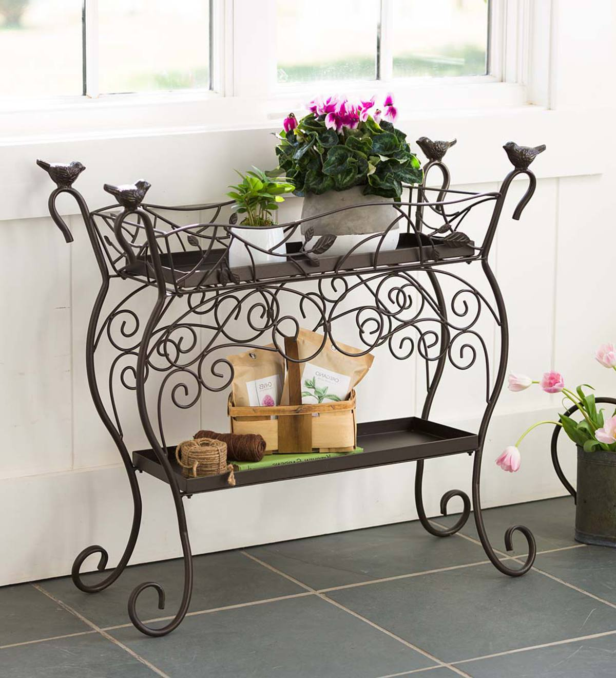 Two-Shelf Cast Iron Plant Stand with Birds
