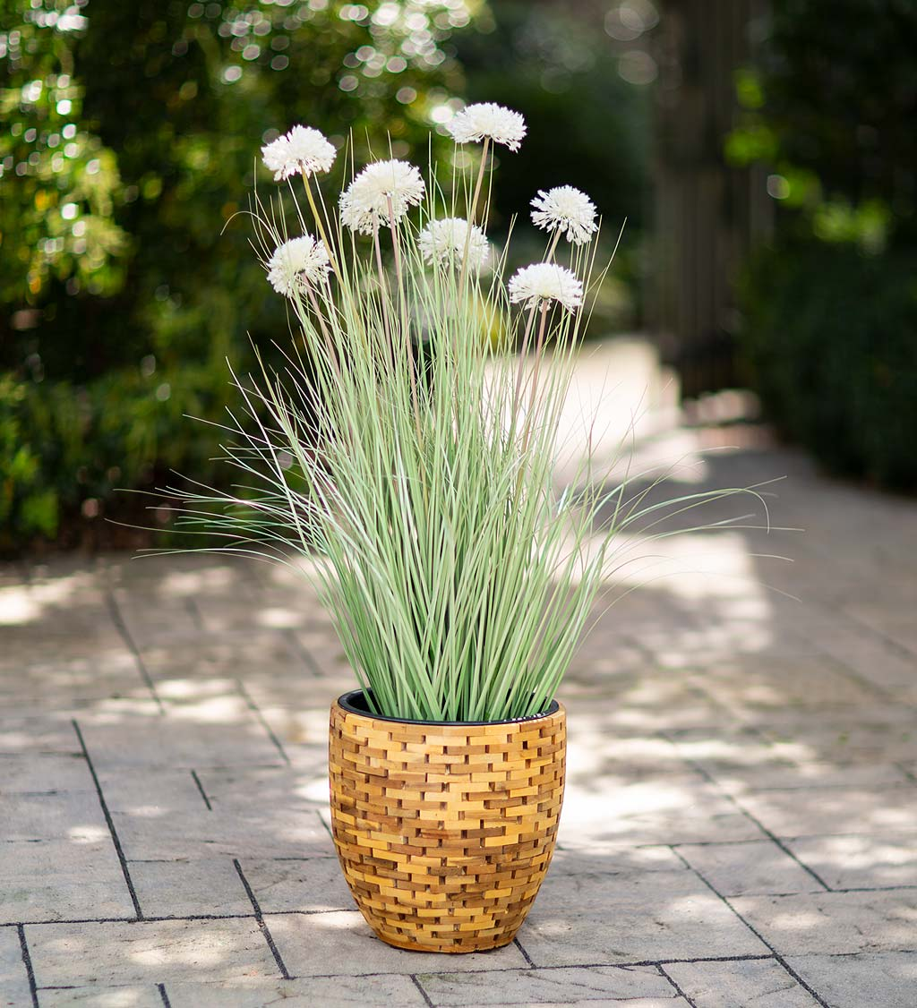 Indoor/Outdoor Faux Alliums and Grass Potted Plant