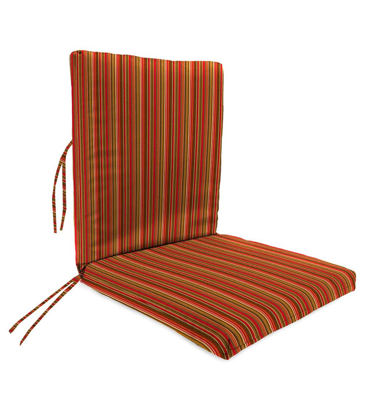 "Sunbrella Classic Large Club Chair Cushion With Ties, 44""x 22""with hinge 22""from bottom - Cherry Stripe"