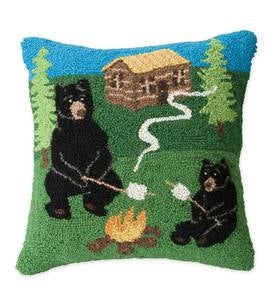 Hand-Hooked Wool Camping Bears Throw Pillow