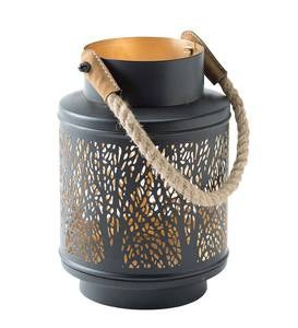 Medium Metal Lantern with Rustic Rope Handle