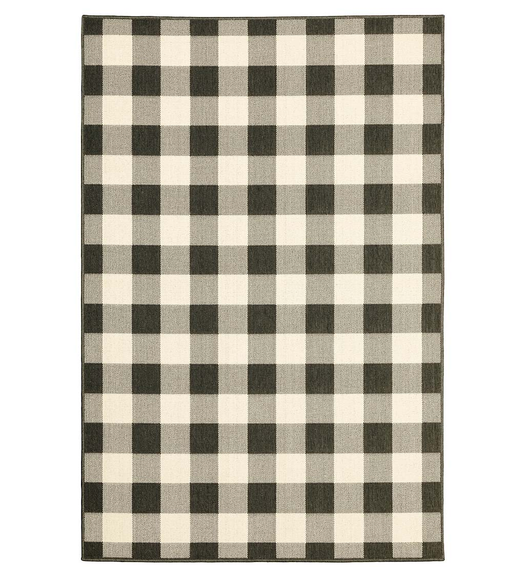"Buffalo Plaid Indoor and Outdoor Polypropylene Rug, 8'6"" x 13'"