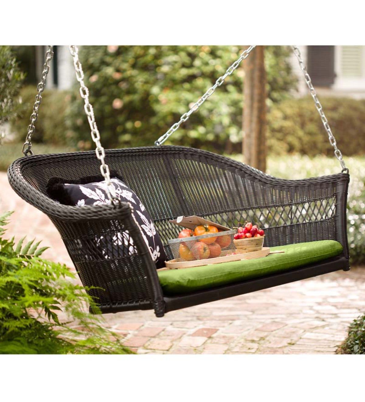 Easy Care Resin Wicker Swing Black