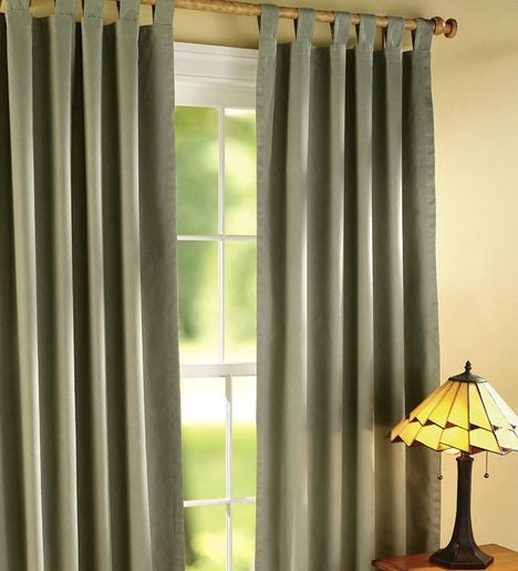 "84""L Thermalogic Energy Efficient Insulated Double Width Solid Tab-Top Curtain Pair"