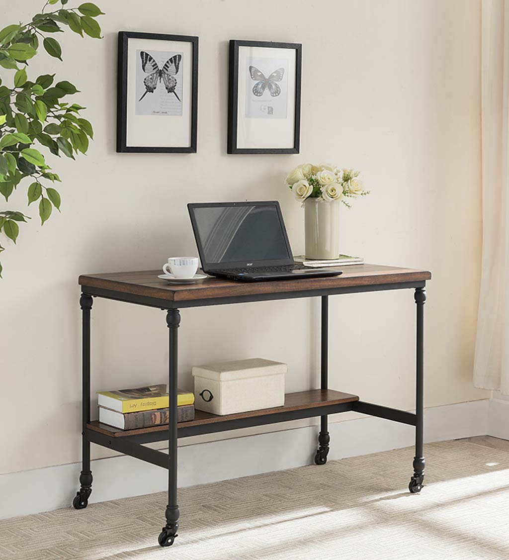 Rolling Weston Writing Desk with Built-In Charging Station and Wheels