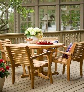White Oak Patio Table Chair Set