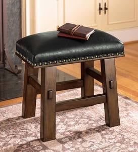 Canyon Black Leather Footstool - Black