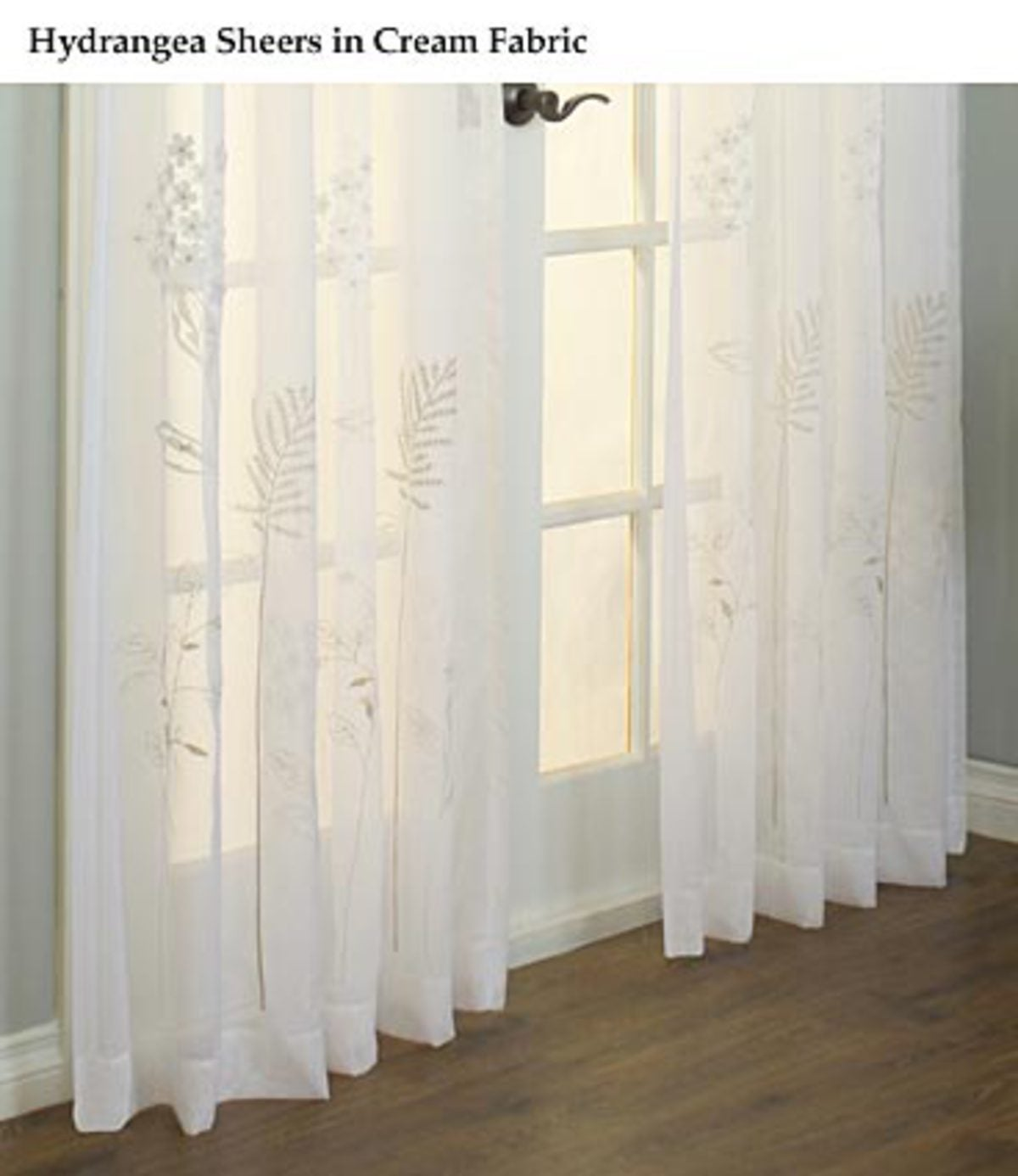 "63""L Embroidered Hydrangea Sheer Curtain Panel - CREAM"