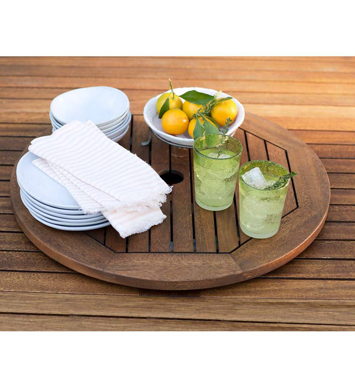 Eucalyptus Wood Lazy Susan, Lancaster Outdoor Furniture Collection