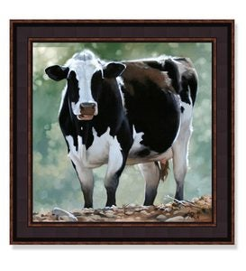 USA-Made Cow Framed Print By Leslie Peck