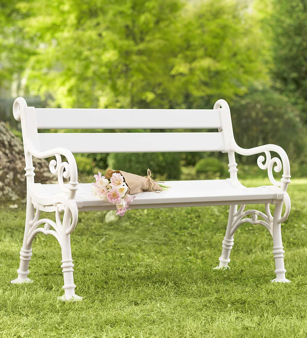 Weatherproof PVC Garden Bench with Scroll Arms - White