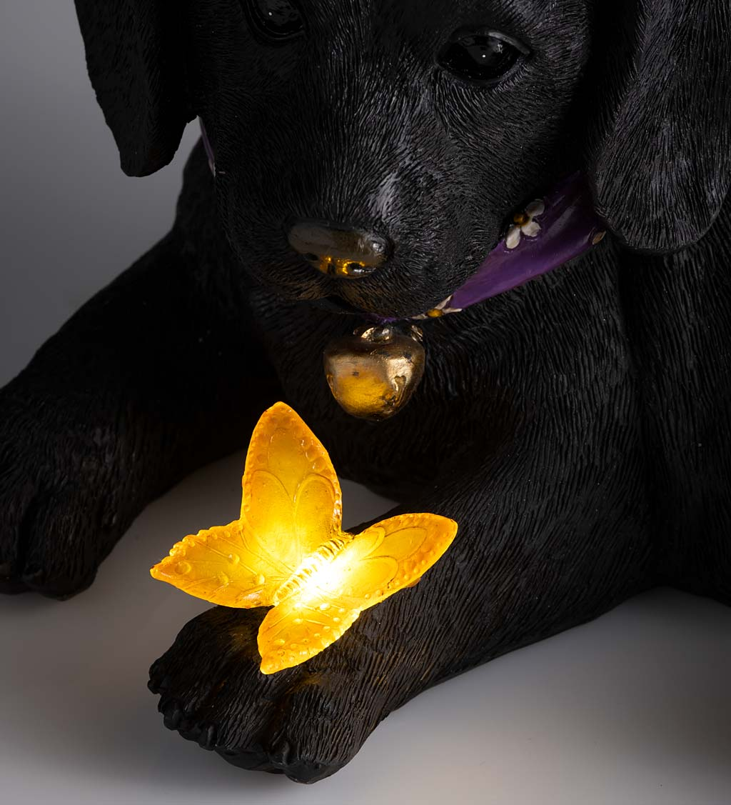 Labrador Retriever Puppy Statue With Solar Butterfly
