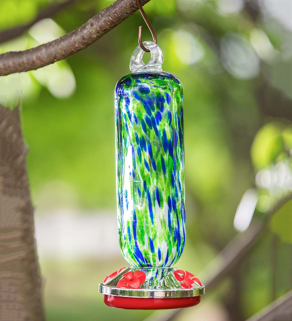 Blue and Green Speckle Glass Hummingbird Feeder