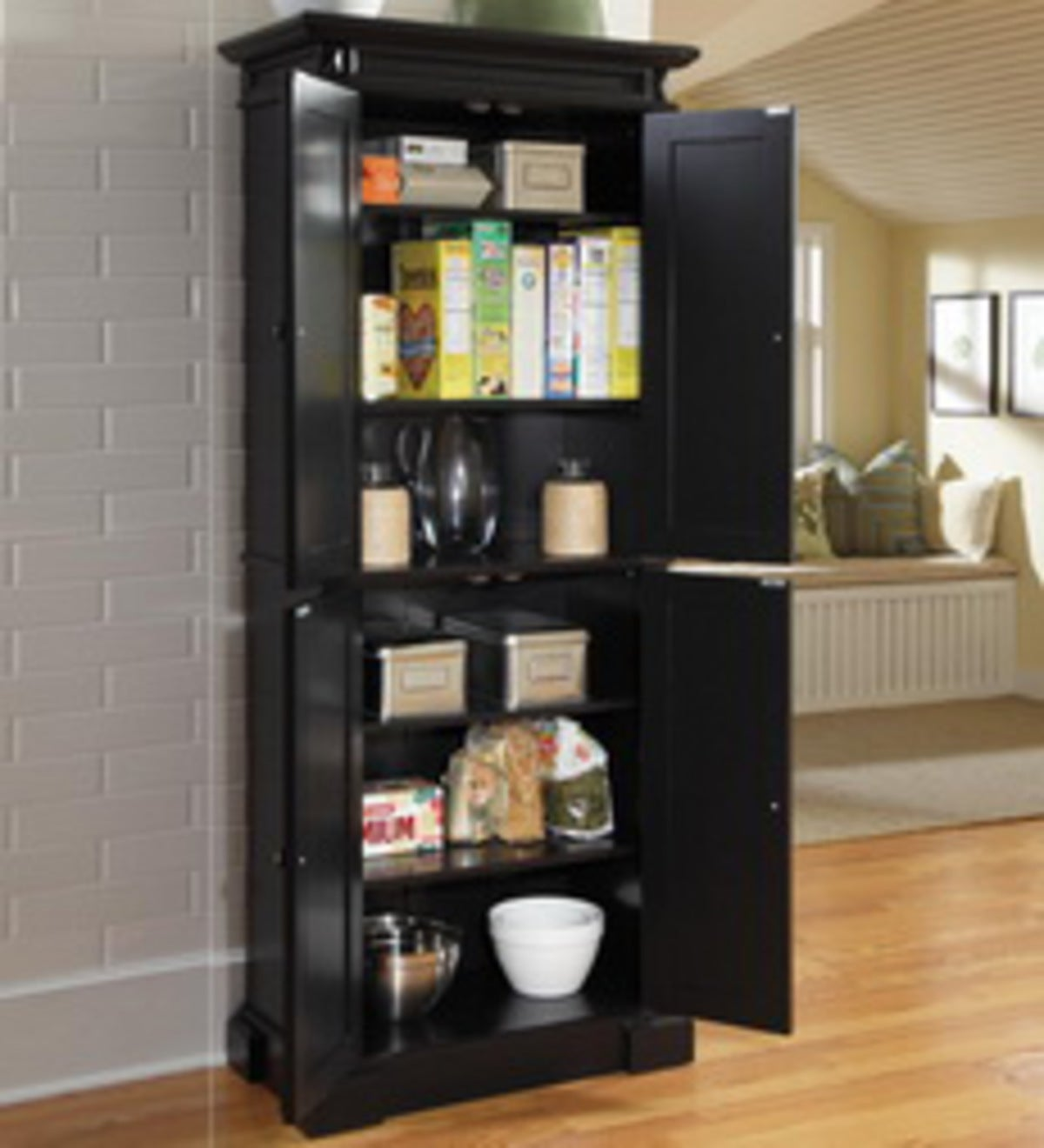 Americana Kitchen Pantry With Recessed Doors - Black ...