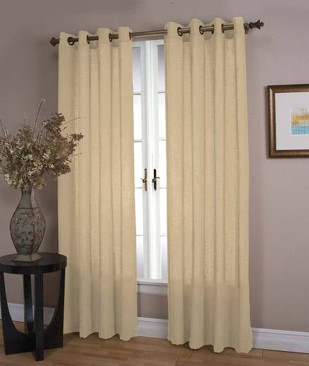 "Lined Sheer Linen Panel with Grommets, 106""W x 84""L Double Width"