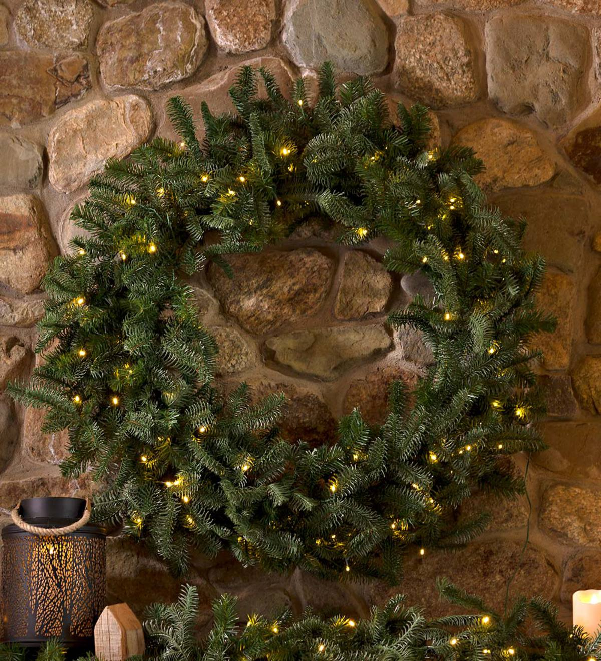 Nordmann Fir Lighted Christmas Wreath