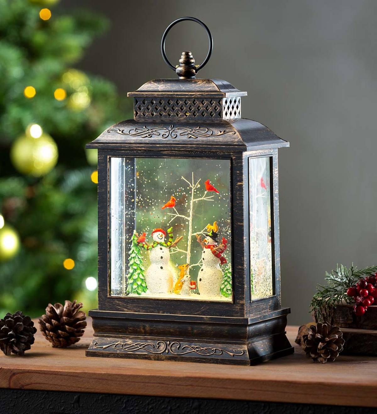 Musical Lighted Woodland Snowman Snow Globe Lantern Plowhearth