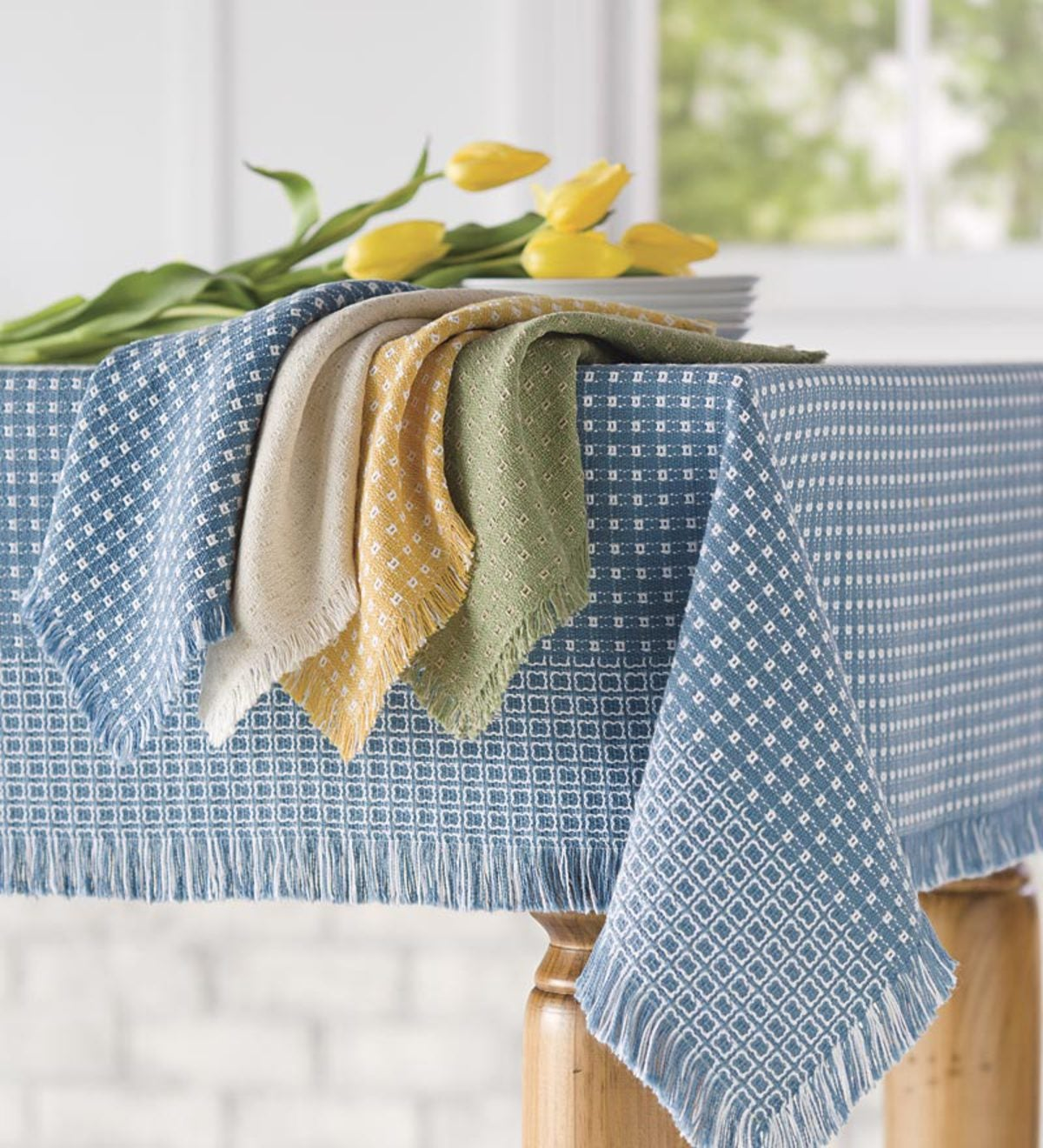 Homespun-Cotton Reversible Tablecloth, 62 x 108""