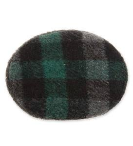 Lightweight Bandless Polyester-Fleece Earbags - Black/Green Plaid - Small