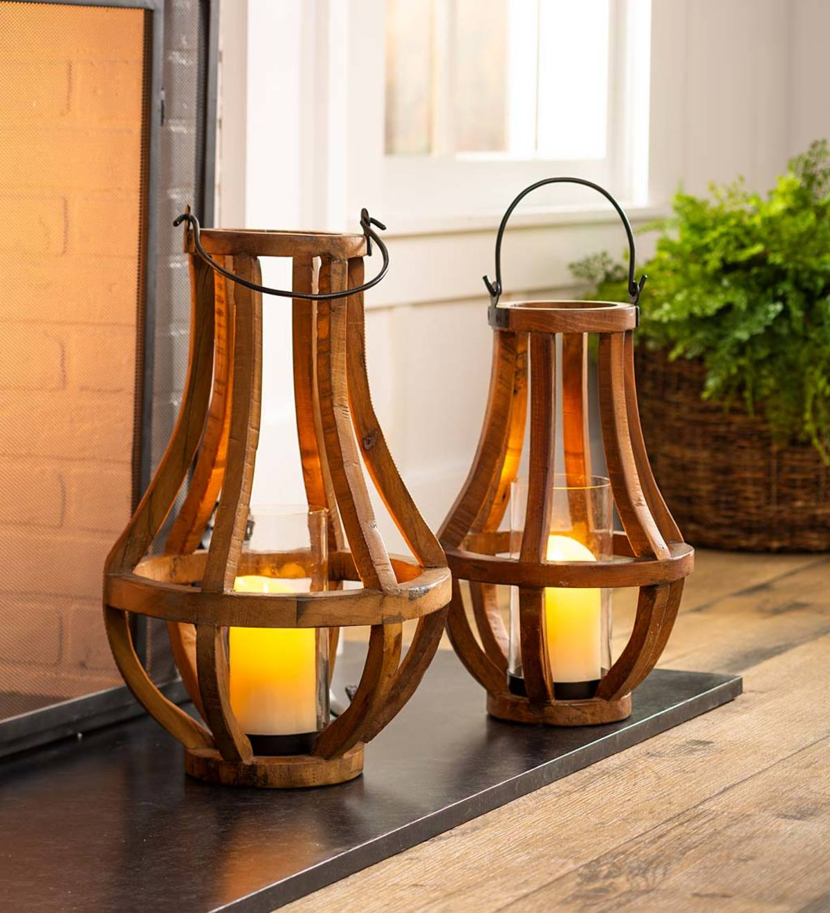 Artisanal Reclaimed Wood Lanterns With Glass Cylinder Plowhearth
