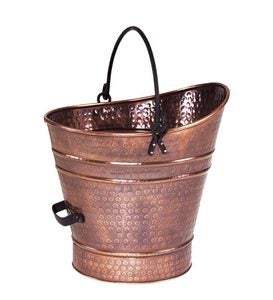 Iron Coal Hod in Antique Copper Finish