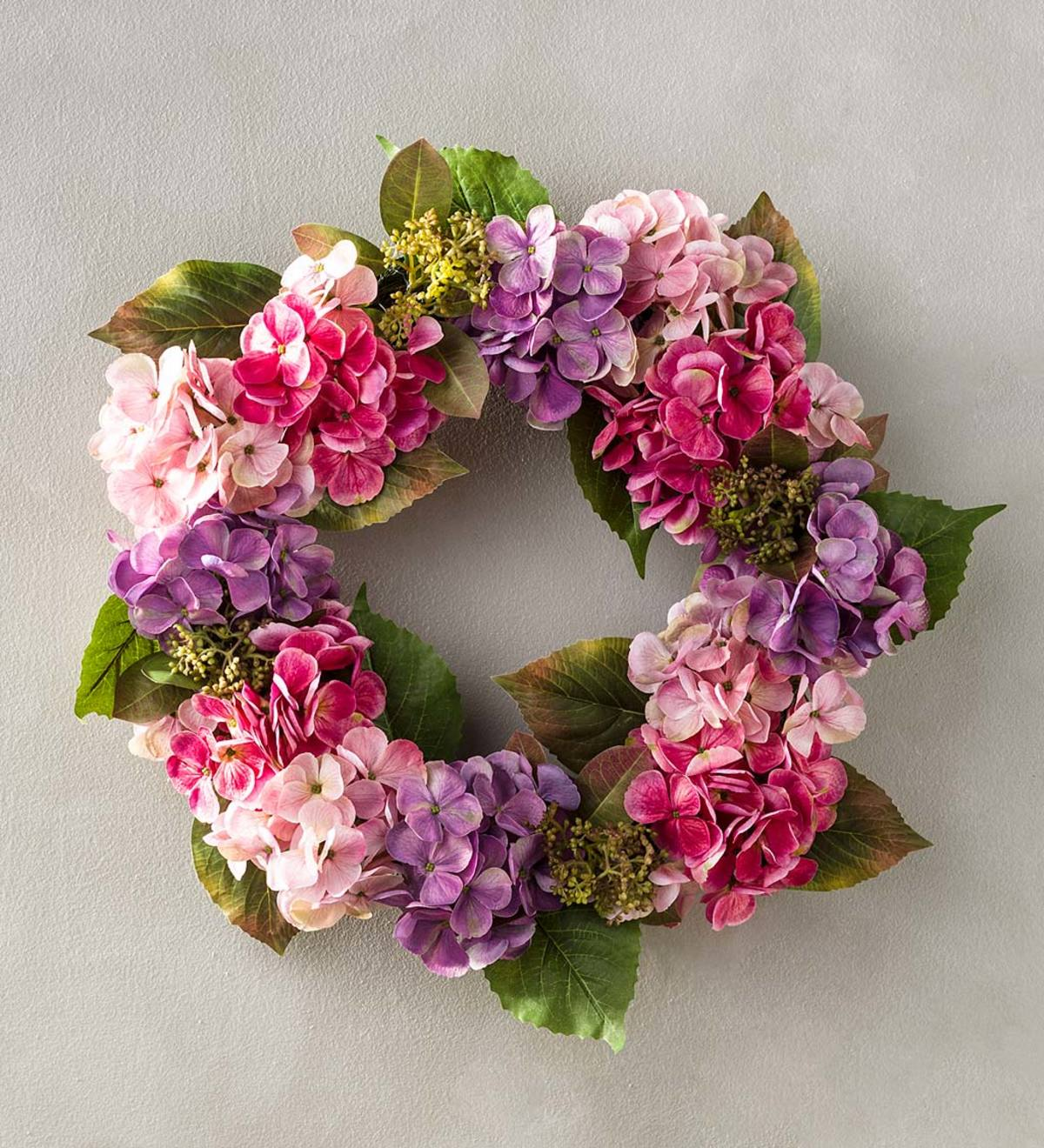 Pink and Purple Faux Hydrangea Flowers Wreath with Rattan Base