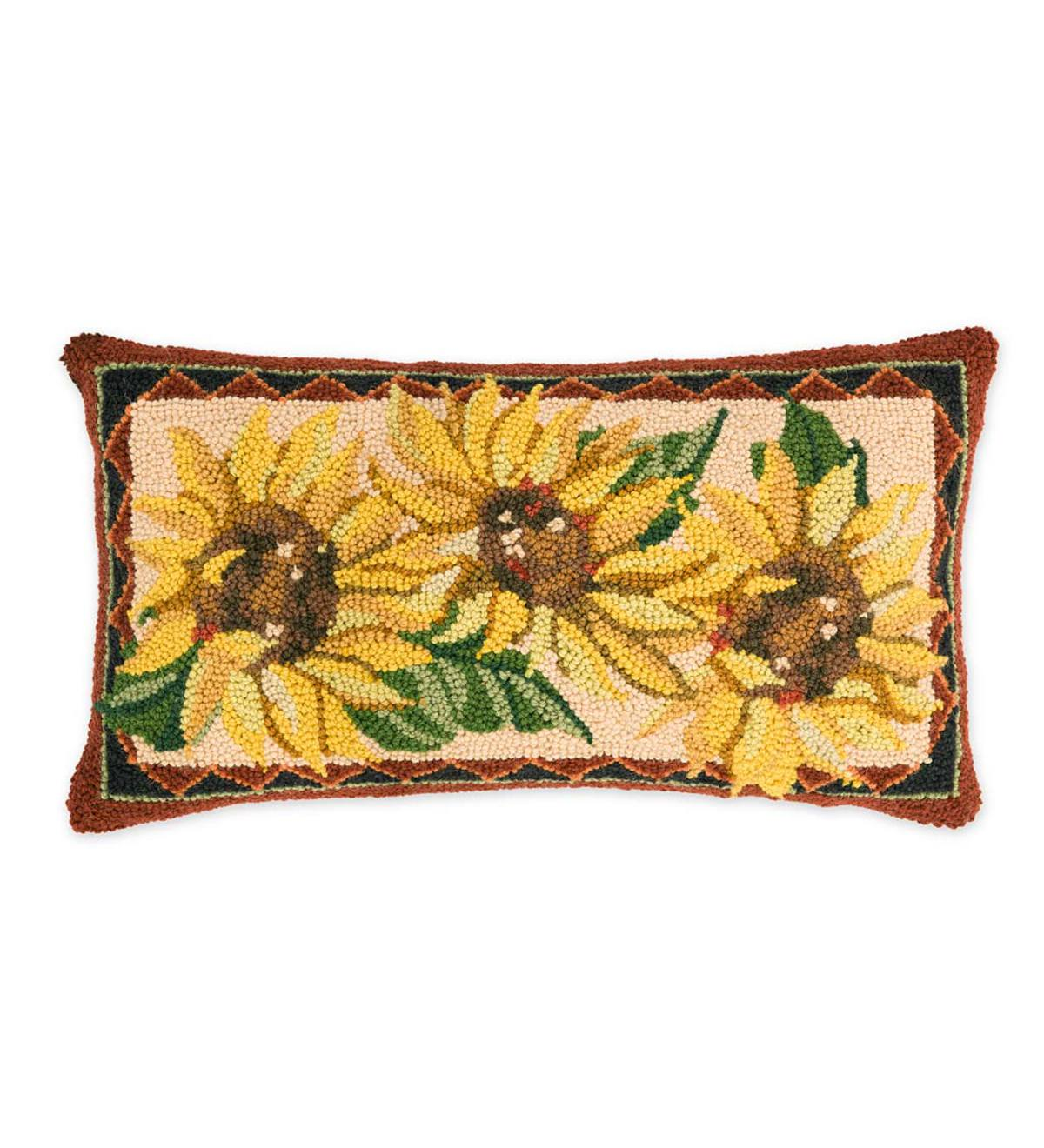 Hooked Wool Sunflower Lumbar Throw Pillow Plowhearth