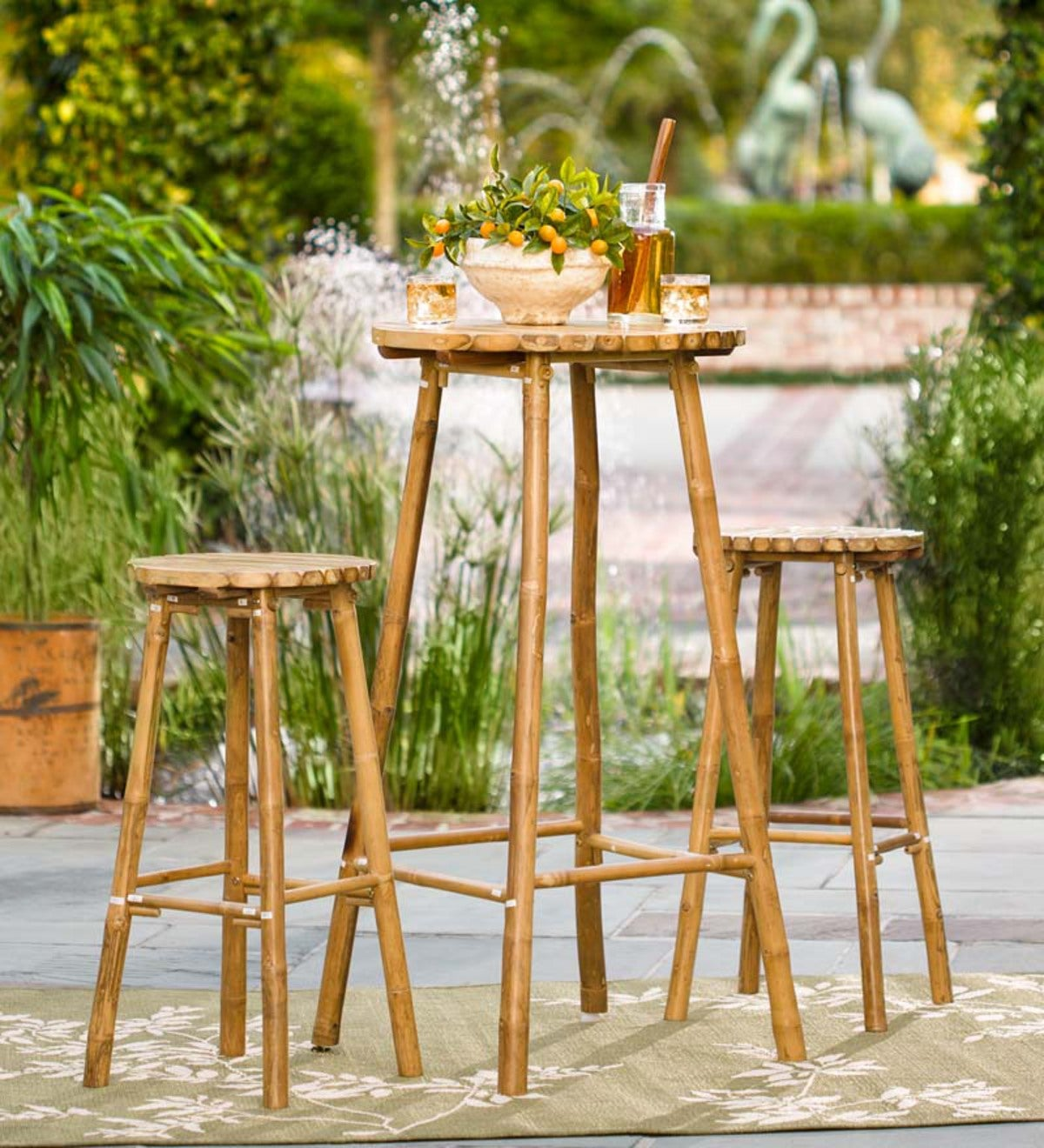 Bamboo Bistro Set Bar Height Table And Stools
