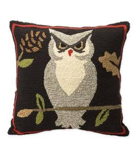 Indoor/Outdoor Woodland Throw Pillow with Owl