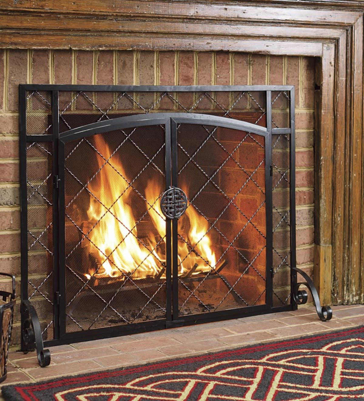 Incredible 44W X 33H 2 Door Celtic Knot Flat Fire Screen Pewter Bralicious Painted Fabric Chair Ideas Braliciousco