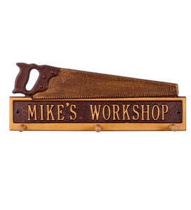 American Made Personalized Saw Hook Plaque In Cast Aluminum - Black/Gold