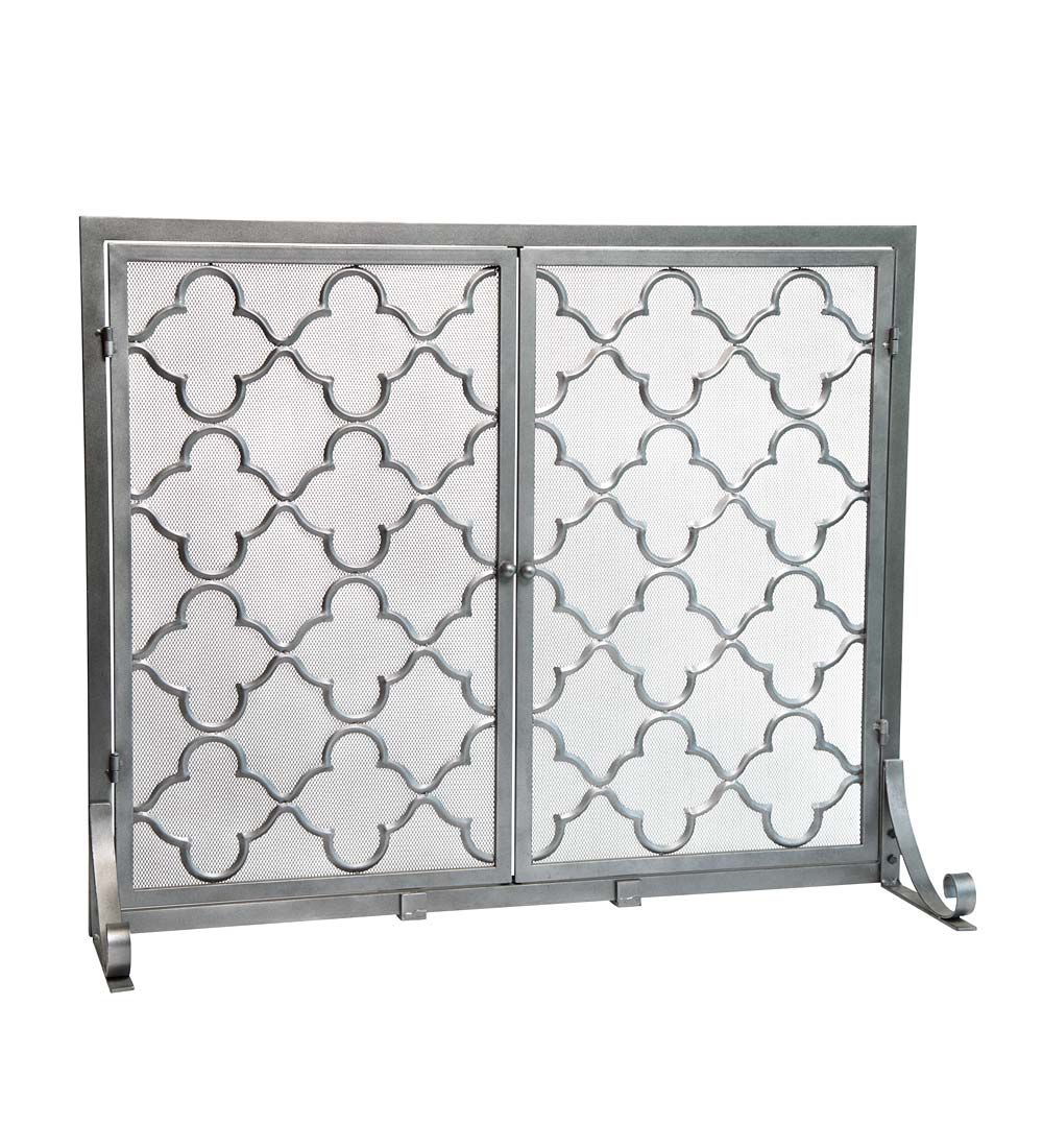 "Large Geometric Screen with Doors, 44""W x 33""H"