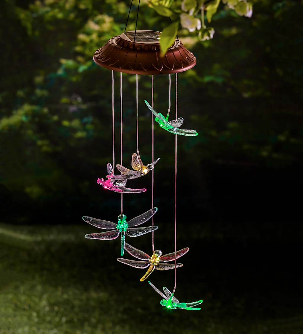 Color Changing Solar Mobile with Iridescent Dragonflies