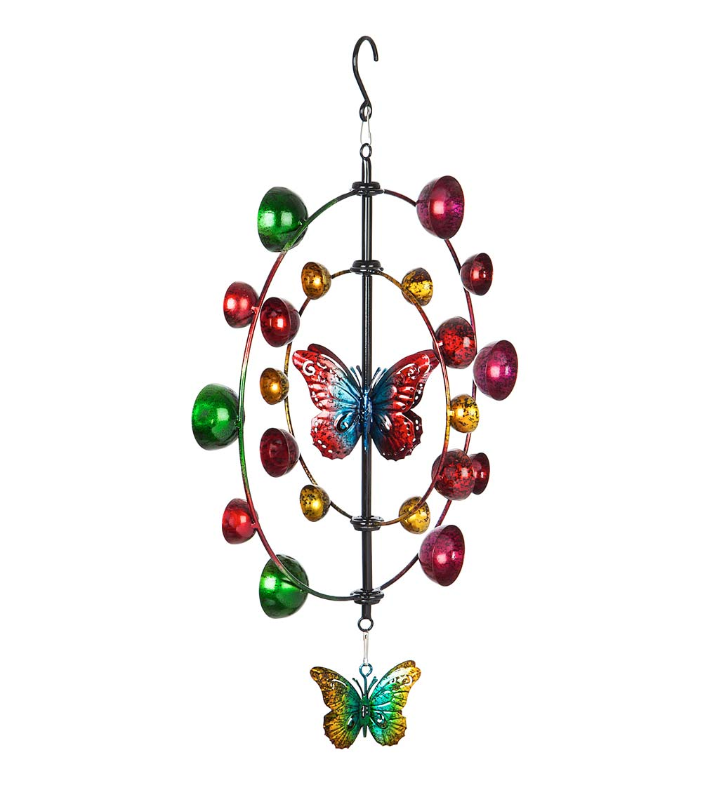 Multi-Colored Butterfly Hanging Wind Twirler Wind Spinner