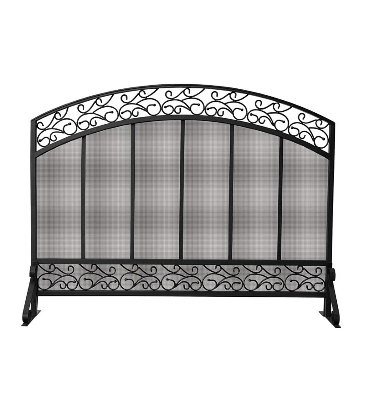 Black Wrought Iron Single Panel Fireplace Screen with Hammered Copper-Top Trim