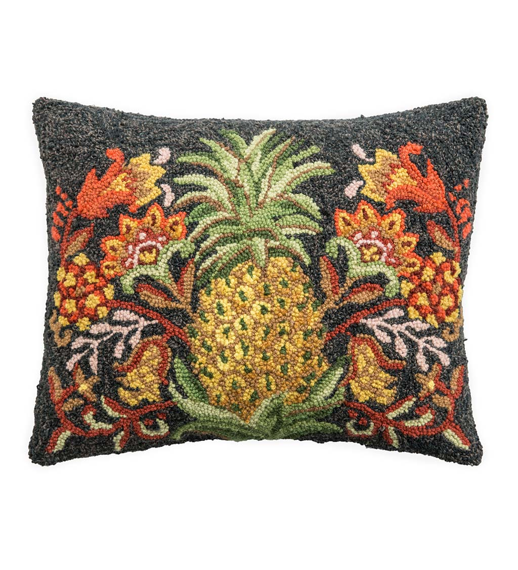 Hand-Hooked Wool Pineapple Throw Pillow