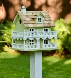 Cape Cod Celery Green Wooden Birdhouse and Pedestal Pole Set
