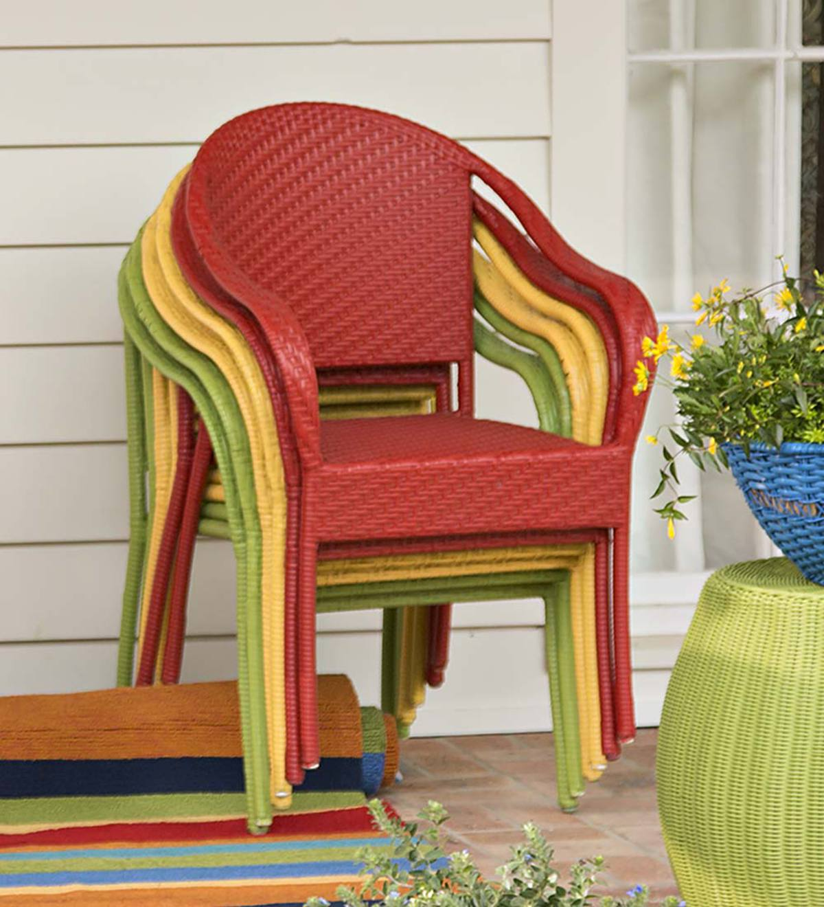 Colorful Wicker Stacking Chair Blue Plowhearth