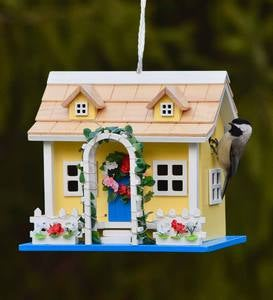 Somerset Lighted Birdhouse Yellow Cottage