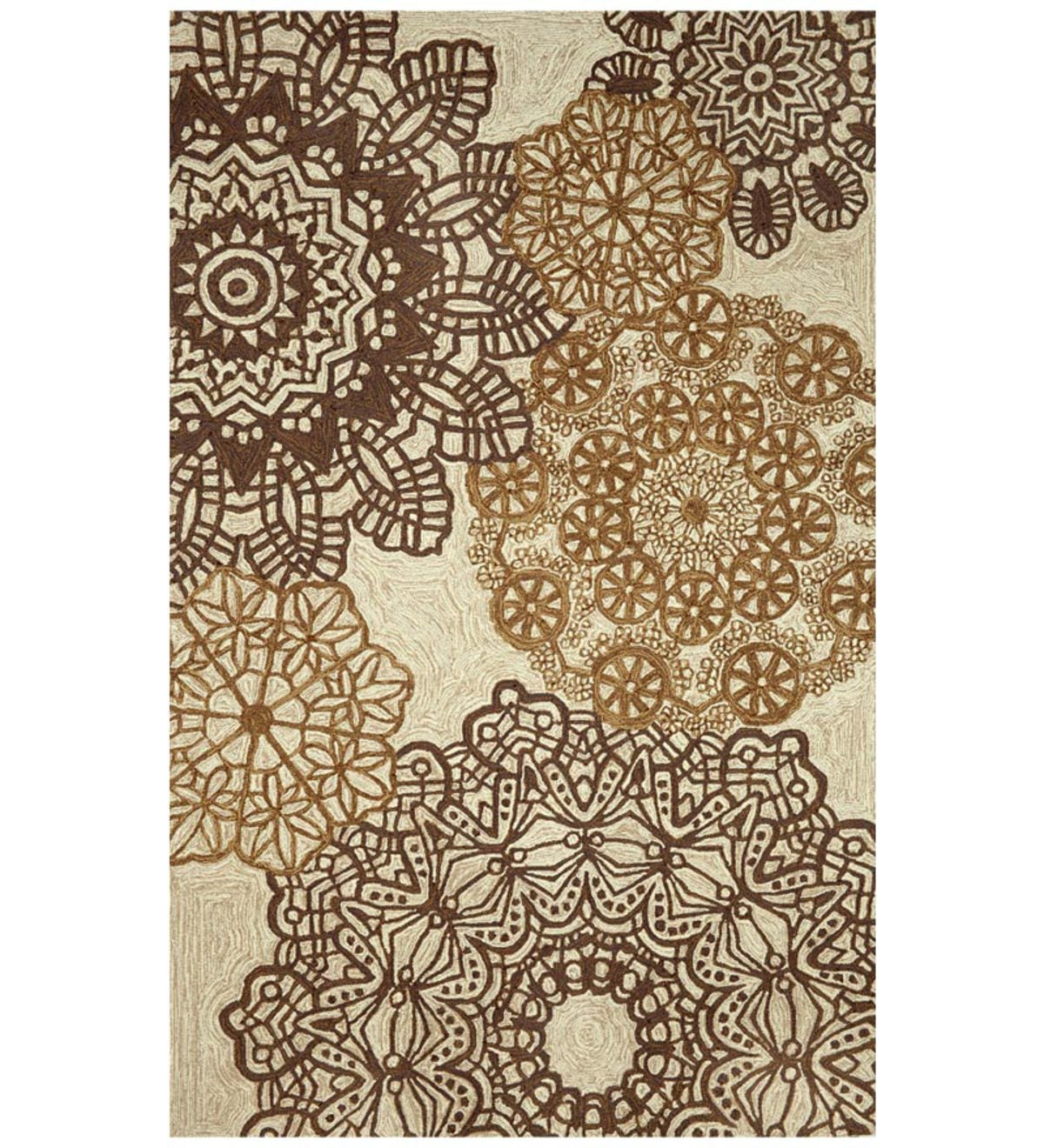 8' Round Ravella Crochet Area Rug - Neutral