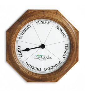 Battery-Powered Wooden Wall Hanging Day Clock