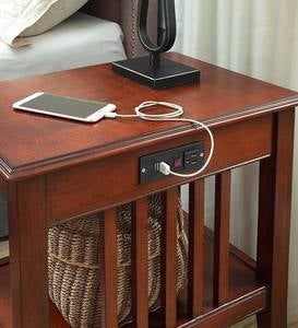 Mission Nightstand With Built-In Charging Station