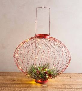 Adjustable Wire-Framed Holiday Lantern - Green
