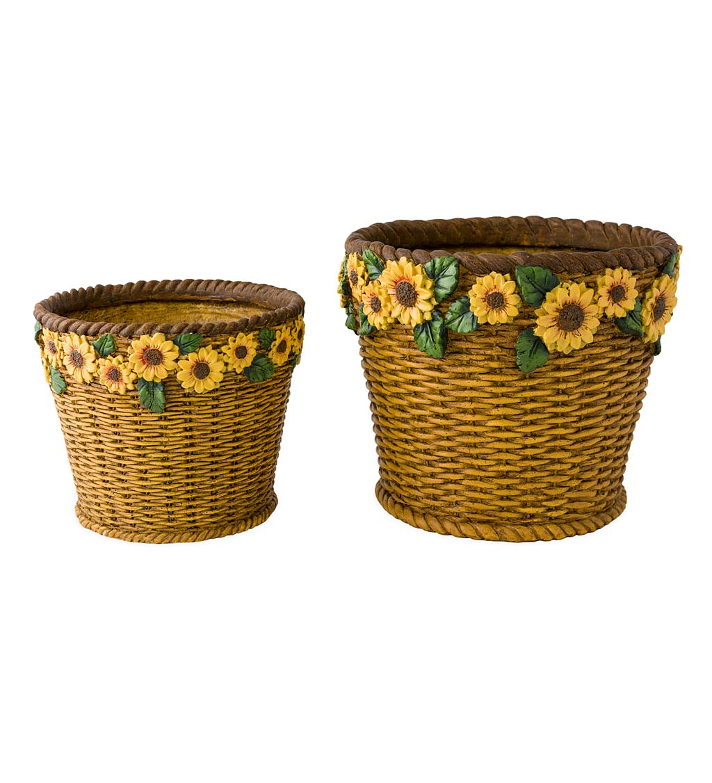 Sunflower Basket Planters, Set of 2