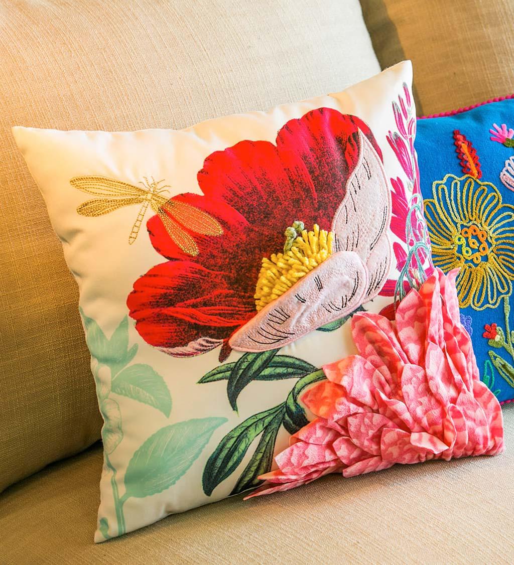 Vivid Flower Bouquet Textured 3d Throw Pillow Plowhearth