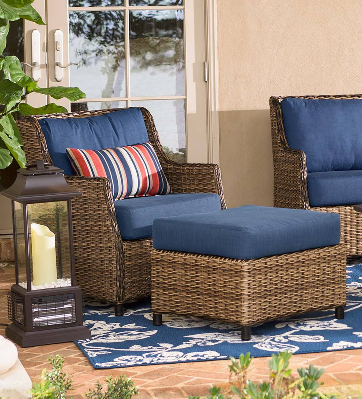 Highland Wicker Outdoor Deep Seating Chair With Ottoman - Coral