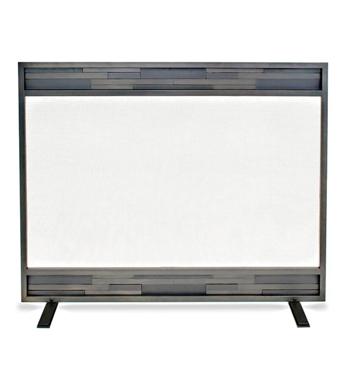 Lanier Single Panel Fireplace Screen in Natural Iron Finish