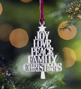 Solid Pewter Christmas Tree Ornament - Holiday Sentiments