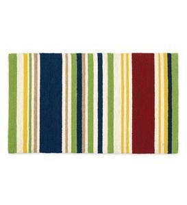 Indoor/Outdoor Rainbow Stripe Hooked Rug