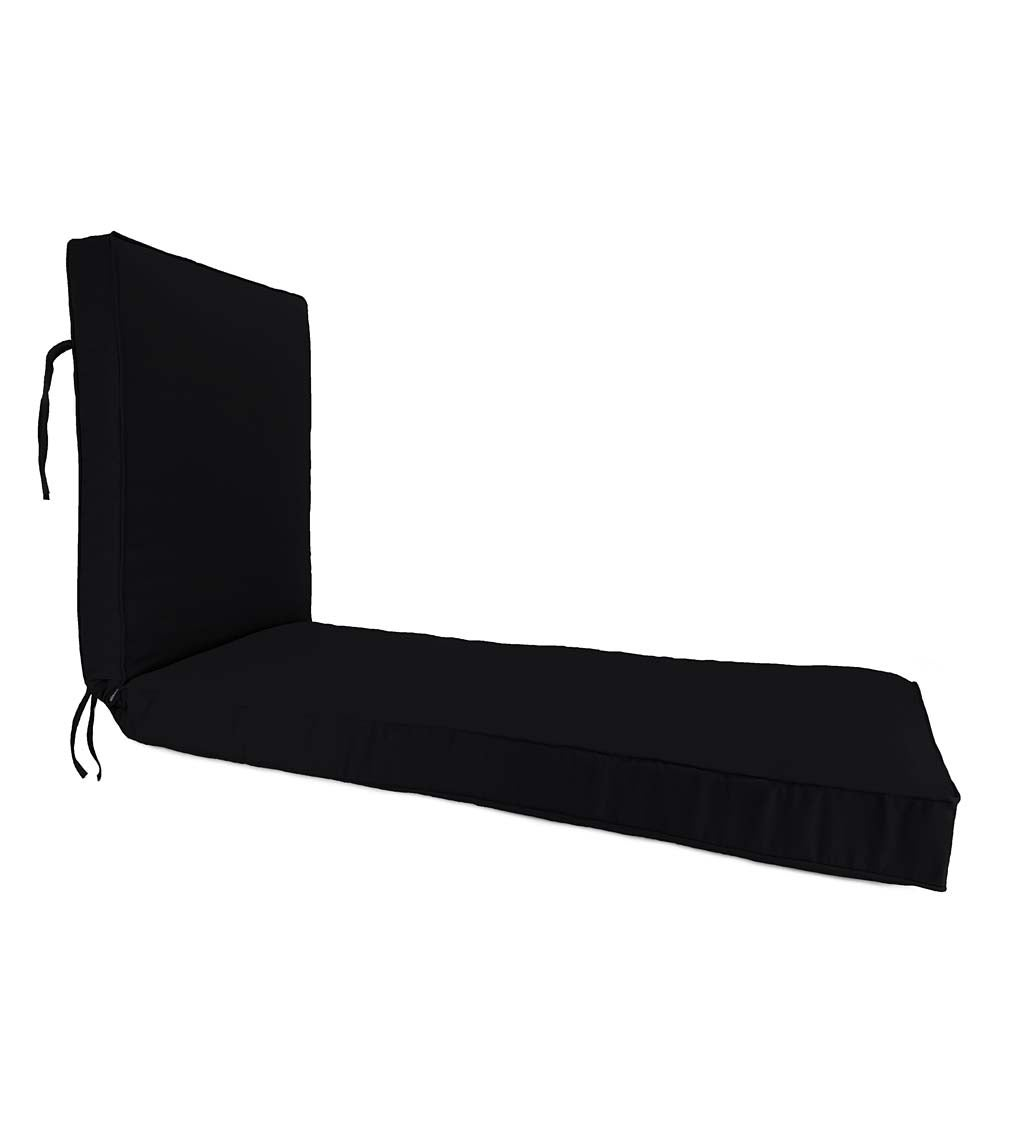 "Deluxe Sunbrella Chaise Cushion with ties 74¼"" x 23¼"" x 3¼"", hinged at 46"" from bottom swatch image"